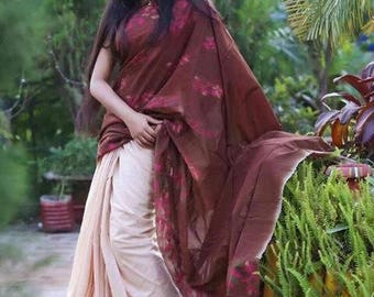 Tie died pure Cotton Tangail saree.