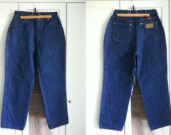 1980s WRANGLER Jeans High Waist Dark Blue Denim Vintage Pants Trousers Mommy Jeans Women Clothing / W30 / Large size
