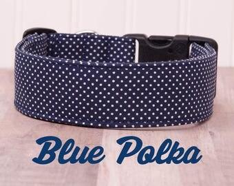 "Blue and White Polka Dot Dog Collar ""Blue Polka"""