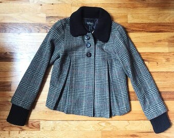90s Vintage Buffalo by David Bitton 60s Style Brown Tweed Plaid Cropped Pleated Woven Fall Jacket Knit Collar and Cuffs Womens Coat Designer
