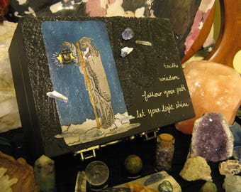 Custom Made Large Tarot Card Box, Built to Order, with Choice of Fabric Tarot Cards, adorned with lace and crystals