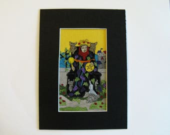 King of Pentacles, Fabric Tarot Card Art, 3x5 inch, matted, unframed, mixed media, made to order