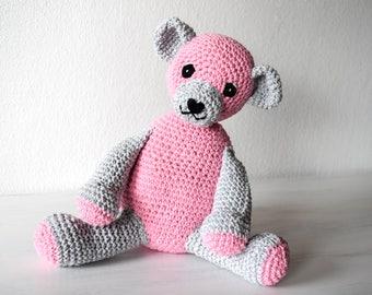 Pink Teddy Bear - Crochet Teddy Bear, Original Handmade Teddy Bear, Safe Toy