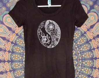 Yin Yang Womens Tee in Black - Graphic Tee - Screen Printed Designs with Eco-Friendly Ink - 100% Cotton