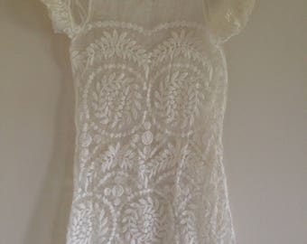Sheer White Embroidered Floral Cap Sleeve Short Summer Dress (size small) Free Shipping!