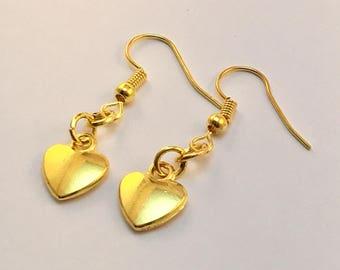 Gold Heart Earrings, Heart Earrings, Gold Earrings, Little Gold Earrings, Gift for Her
