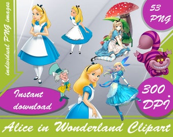 Alice in Wonderland Clipart - Digital 300 DPI - 53 PNG image - alice in wonderland invitations,alice in wonderland birthday