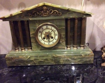 Antique 3 Piece Green and Gold Marble Mantel Clock and Candle Holder Set