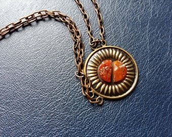 Lithuanian Sunburst Vintage Baltic Amber Necklace Cooper Setting and Chain