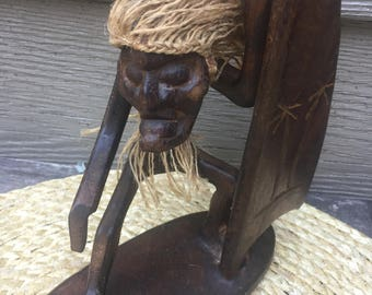 Wood tiki surfer. Surfing figurine. Tiki surfer. Surfing gift. Tropical decor. Vintage surfing figurine.