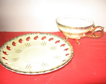 Vintage Footed Teacup And Cutout Saucer Set - Yellow And Gold Vintage Footed Teacup Set