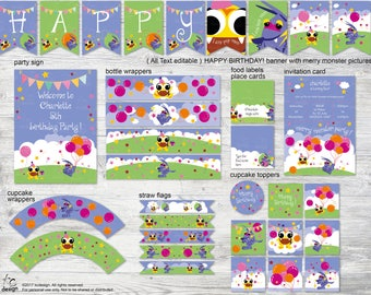 MONSTER birthday party decorations set,monster birthday party set,monster birthday pack,monster party set,monster party download