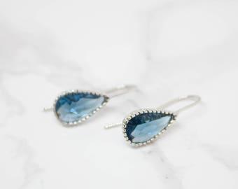 Earrings Silver Blue dark blue