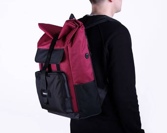 Waxed Canvas Backpack,Canvas Rucksack,Men's Backpack,Travel Backpack,Burgundy Backpack,Laptop Backpack,Roll top Backpack,Waterproof Backpack