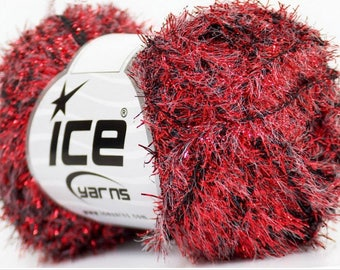 ICE VEGA GLITZ red and Black wool 50 g fingering 3 54