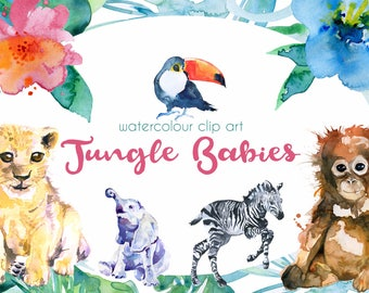 Jungle Animals Clipart, Watercolour Jungle animals, Baby shower, Lion Cub, Baby Elephant, Toucan, Zebra