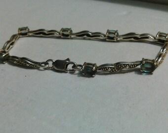 Blue Topaz silver bracelet.
