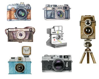 Watercolour Camera Clip Art Graphic Design PNG High Resolution A45