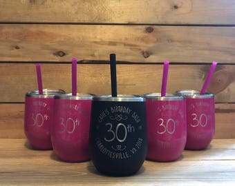 Wine Tumbler  | Metal Wine Tumbler with Lid and Straw  | Customized | Valentines Gift | Bridesmaids Gifts | Wine Tumblers With Lid