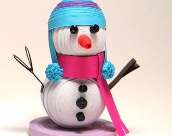 OOAK 3D Quilled Baby Frosty Snowman Paper Sculpture. Winter Ice Theme Cake Topper Ornament Art. Birthday Anniversary Wedding Gift. FREE S/H!