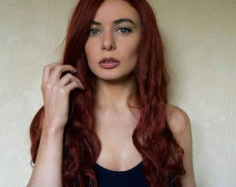 """24"""" Red Aquaman Movie Mera Lace Front Wig"""