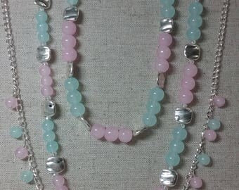 Say Thank you, Happy Birthday with the innocent colors of Pink, blue Necklace and chain link with same bead colorings