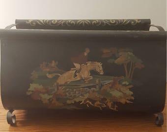 1970u0027s vintage metal decorated fire log home decor cottage decor - Fireplace Log Holder
