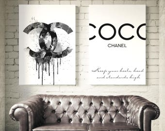 Fashion set of 2 Coco Chanel prints. Coco Chanel logo and Coco Chanel quote. Wall art fashion, Chanel sign. Watercolor print. Free shipping.