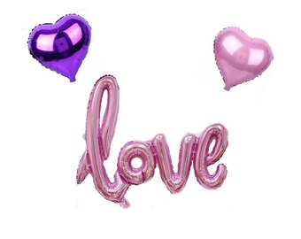 Love Script Balloon & Pink Purple Heart Balloons -Engagement Party Decorations / Wedding Props / Anniversary Valentines Day Bridal Shower