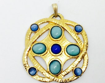 Pendants vintage goldytone with caboshons bleus . French jewelery/ atom and electron , proton