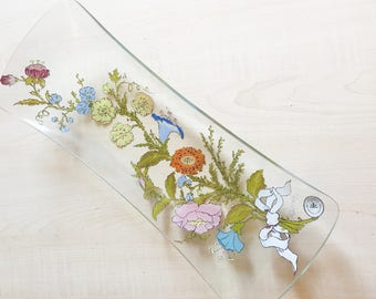 Dorothy Thorpe California Wildflowers Design Glass Tray Mid Century Modern Vintage Eames Era Signed