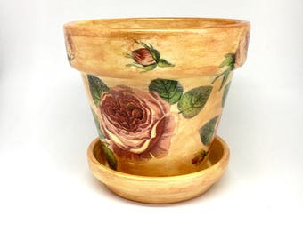 Terracotta plant pot, hand painted plant pot, decoupaged terracotta pot, pot with saucer