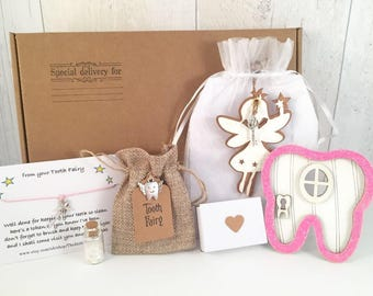 Tooth fairy door and tooth fairy bag, fairy door