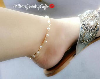 Tiny Pearl Anklet Freshwater Pearl Ankle Bracelet White Pearl Anklet Mother's Day Gift For Her Gold Anklet Pearl Ankle Bracelet