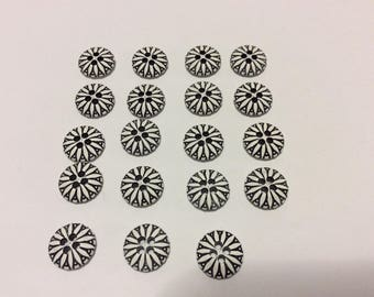 19 Vintage Plastic Black and White, 4 Holes, 13mm Buttons