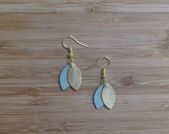 Dangle earrings gold leather and shape of petals, light green and shiny Golden