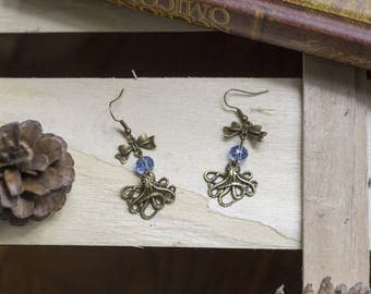 """cute pair of earrings """"Octopus"""" blue octopus - steampunk - witch - Gothic - sailor - magic - fairy - - legend"""