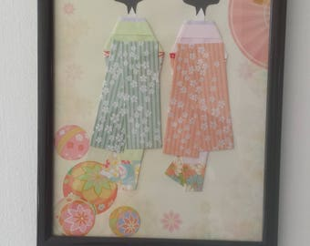 origami paper doll picture with frame