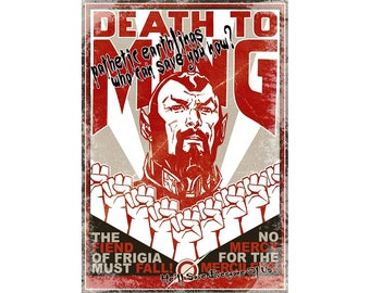 T-SHIRT: Flash Gordon / Ming The Merciless - Classic T-Shirt & Ladies Fitted Tee - (LazyCarrot)