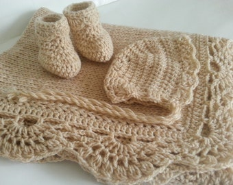 Crochet Baby Blanket Booties and Bonnet Hat Baby Shower Gift Baby Girl Baby Boy Handmade Knit Afghan Lace Border Crochet Baby Set