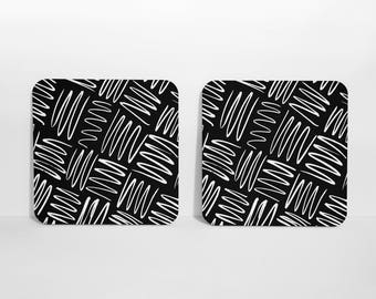 Black and White Coasters, Set of Coasters, Set of 4 Coasters, Cork Back Coasters, Drink Coasters, Coasters, Beverage Coasters