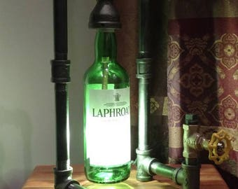 Laphroaig Bottle Lamp; Industrial Pipe Lamp; Bottle Lamp; Laphroaig Lamp, Desk Lamp, Table Lamp, Accent Lamp