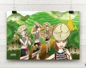 Wall Art. Huayao Dai. Flowery Dai. Ailao Mountains. Banyan Trees. Dai Bamboo Houses. Buddhist Temple. Decor. Energy How. Art Collection.