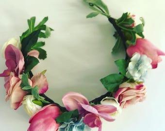 Flower Crown, blues, pinks, creams, handmade