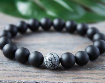 Mens Black Beads Bracelet Trendy Obsidian Bracelet Protection Amulet Black Matte Bracelet Energy Bracelet Dad Boyfriend Bracelet for Hiim