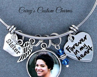Sister Memorial Keepsake Photo Charm Bracelet, Swarovski Birthstone, Sympathy Gift, Forever In My Heart, Angel Wing, Custom Picture Charm