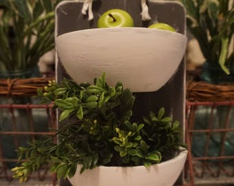 Handmade Home Decor. Hanging baskets. Apples/Floral. Green, Gray,White.