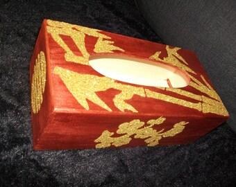 Box with handkerchiefs acrylic gold / gold