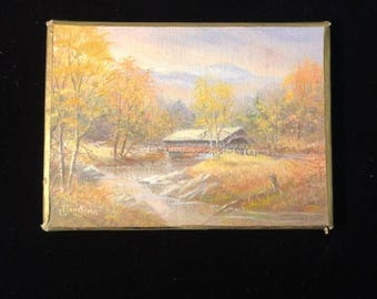 Oil painting by G Dawkins, brilliant colors, picturesque landscape! New Hampshire Covered Bridge Scene.