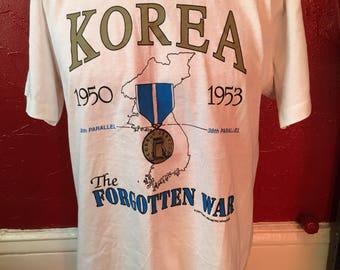 Korea The Forgotten War Deadstock T-Shirt L 1990 50's